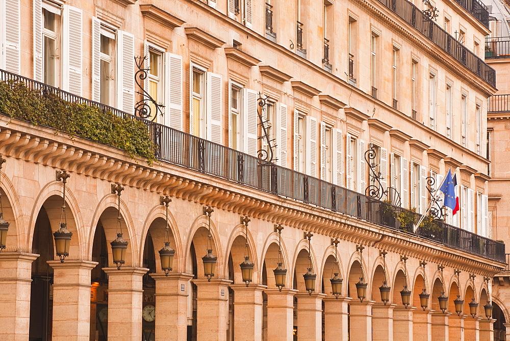The grand arcades of Rue de Rivoli in Paris, France, Europe