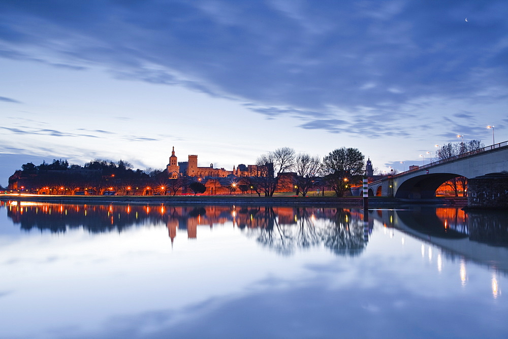 The Rhone River and the city of Avignon at dawn, Avignon, Vaucluse, France, Europe