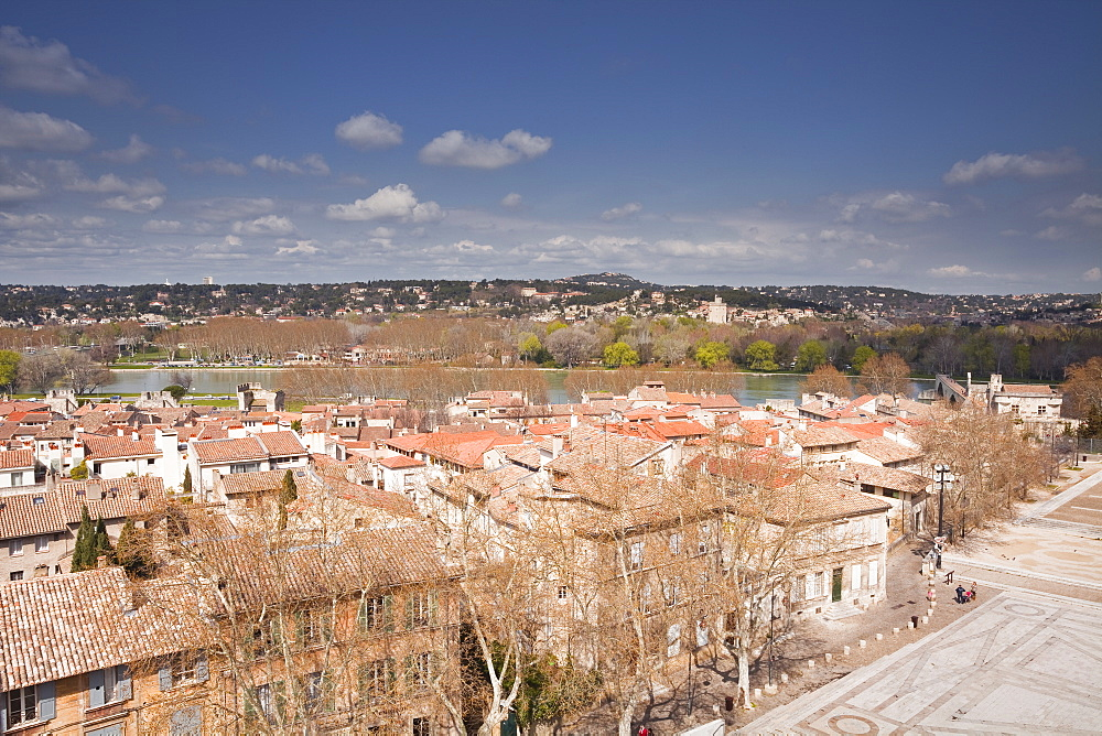 The view over the city of Avignon towards Villeneuve-les-Avignon, Avignon, Vaucluse, France, Europe
