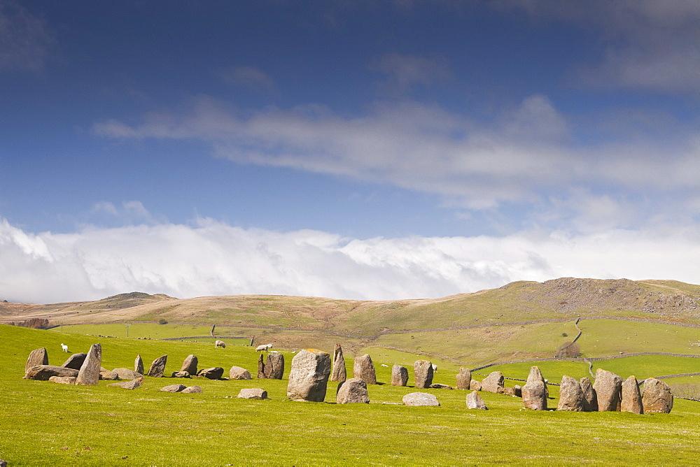 The Neolithic Swinside stone circle (Sunkenkirk stone circle), Lake District National Park, Cumbria, England, United Kingdom, Europe