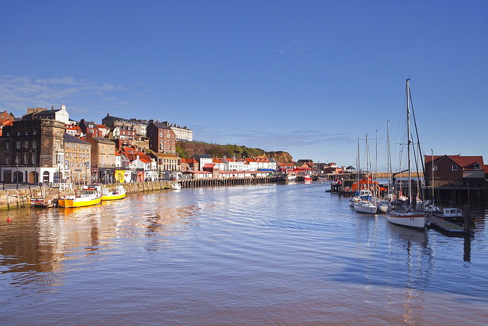 The seaside town of Whitby in the North York Moors National Park, Yorkshire, England, United Kingdom, Europe