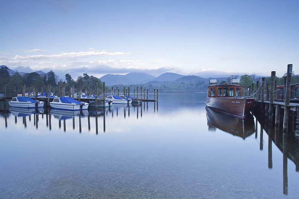 The still waters of Derwent Water in the Lake District National Park, Cumbria, England, United Kingdom, Europe