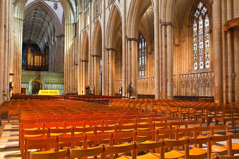 The nave of York Minster, one of the finest examples of Gothic architecture in Europe, York, Yorkshire, England, United Kingdom, Europe
