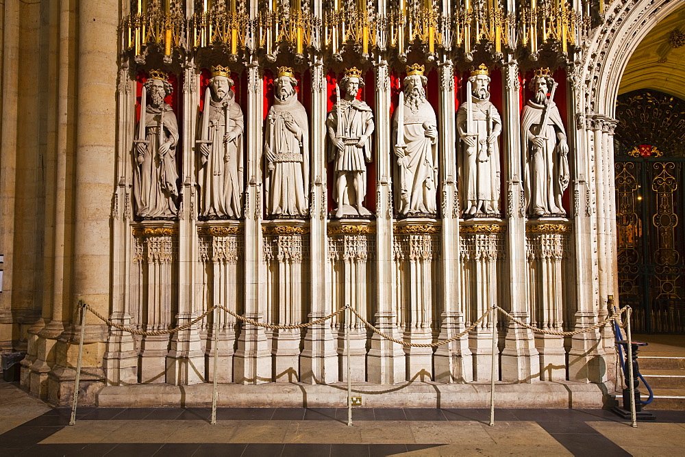Detail of the choir screen in York Minster, one of the finest examples of Gothic architecture in Europe, York, Yorkshire, England, United Kingdom, Europe