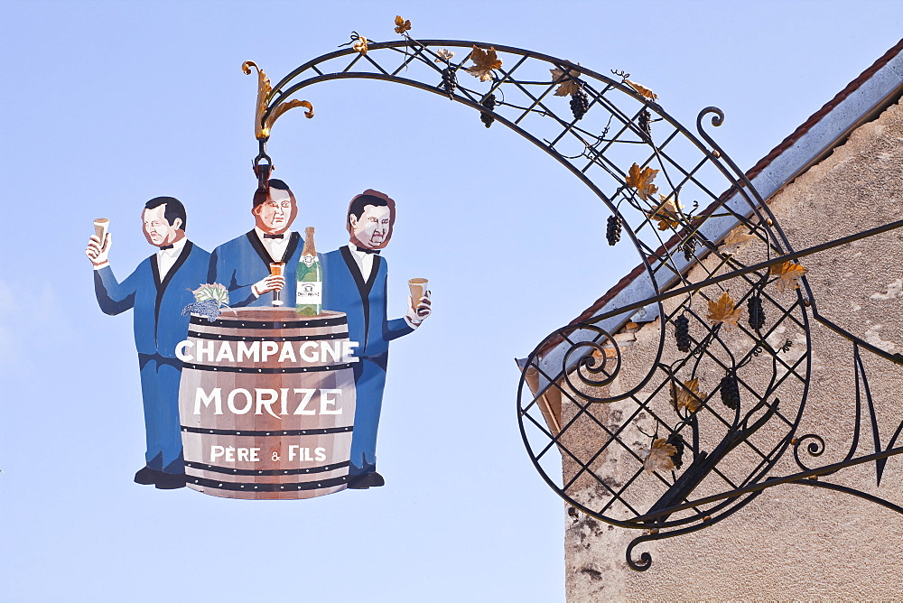 A sign in the village of Les Riceys for Morize Pere et Fils Champagne, Aube, Champagne-Ardennes, France, Europe