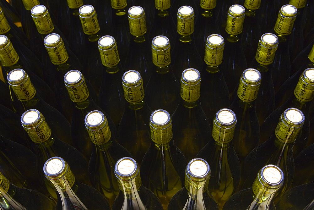 Unlabelled wine bottles, France, Europe