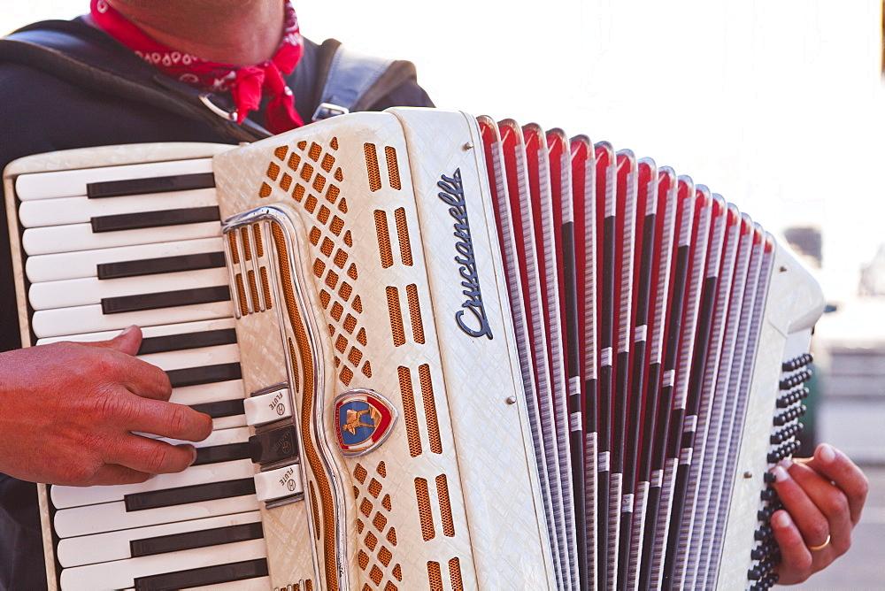 A street musician plays the accordion, Lyon, Rhone, Rhone-Alpes, France, Europe