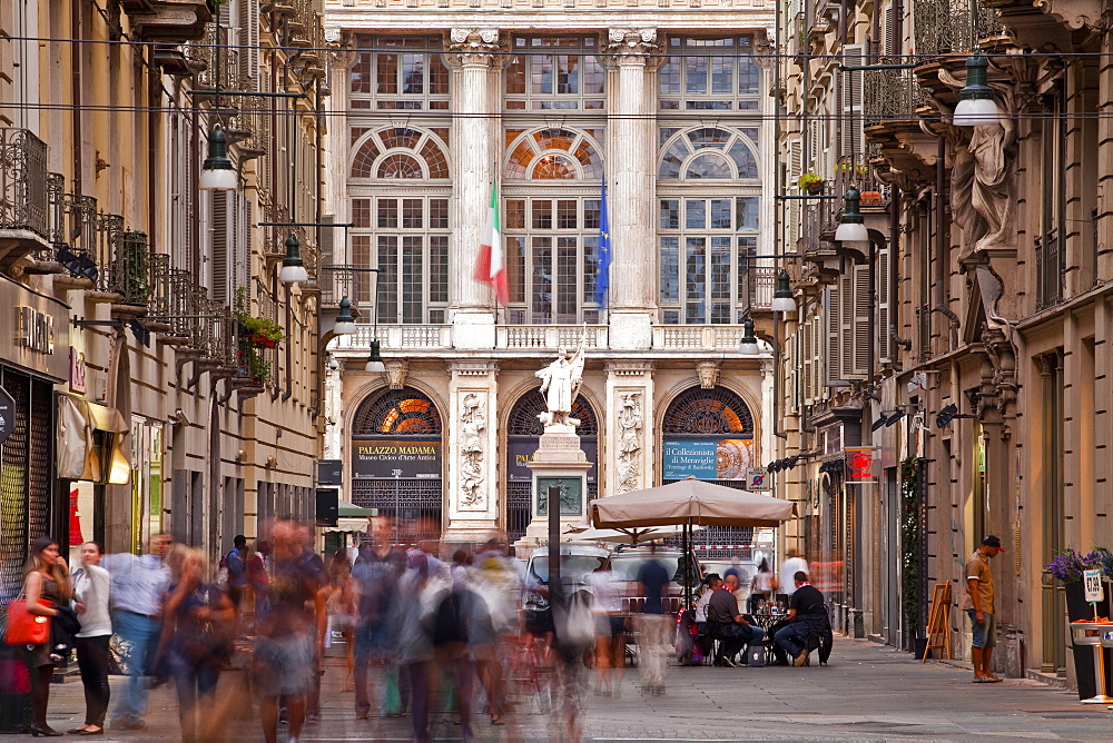 A bustling Via Giuseppe Garibaldi with Palazzo Madama at the end, Turin, Piedmont, Italy, Europe