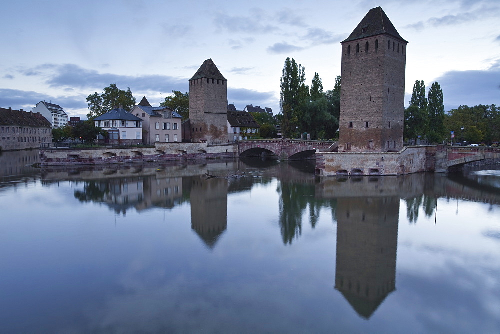 The Ponts Couverts dating from the 13th century, striding the River Ill, UNESCO World Heritage Site, Strasbourg, Bas-Rhin, Alsace, France, Europe