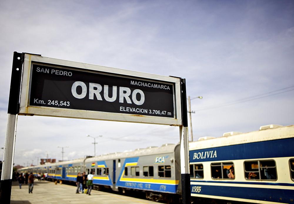 Oruro train and station sign, Bolivia, South America