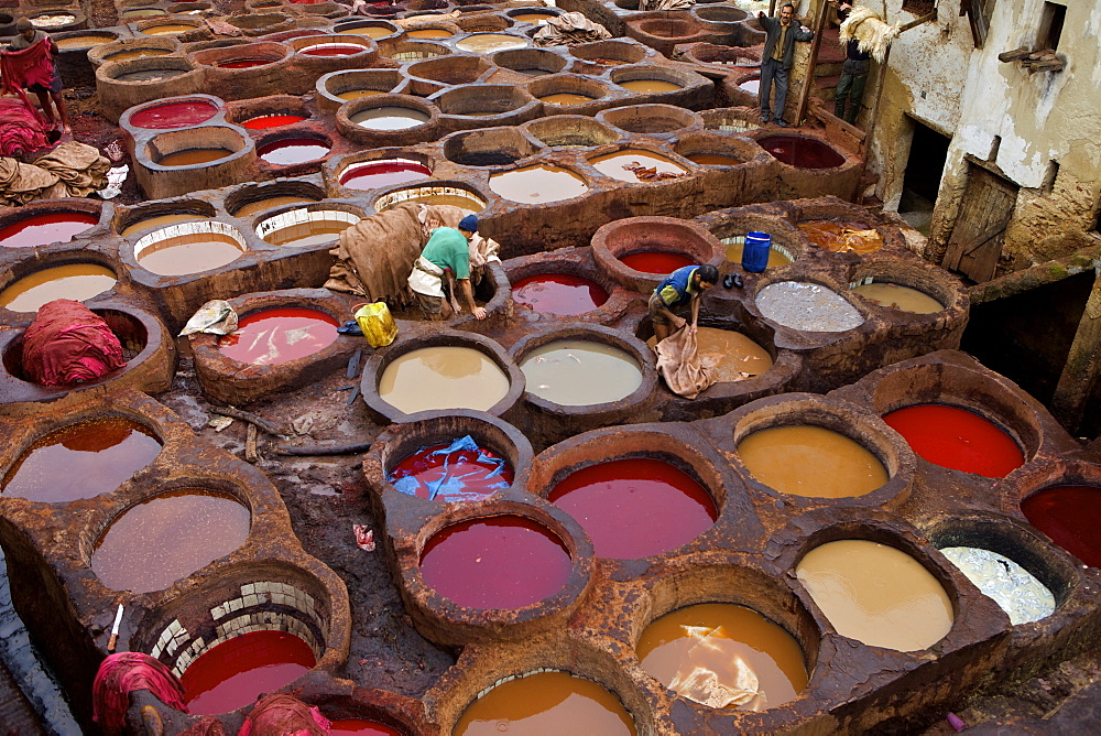 Men at work in the Tanneries, Medina, Fez, Morocco, North Africa, Africa