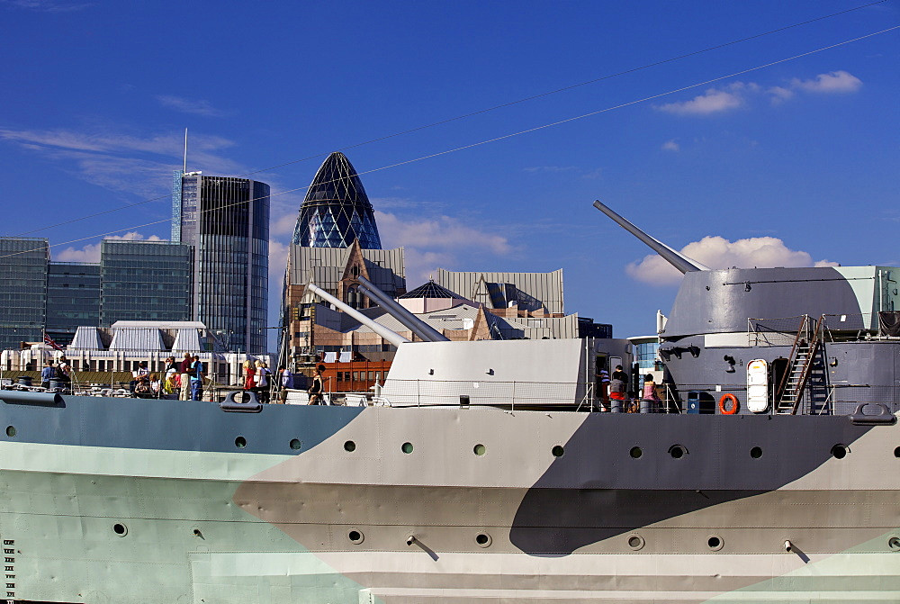 HMS Belfast WW2 battleship now a floating museum, is moored on the River Thames near London Bridge, London, England, United Kingdom, Europe