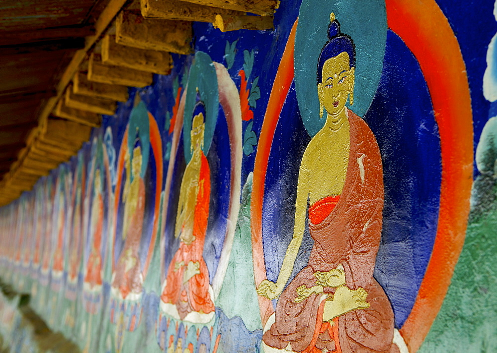 Buddhist wall paintings at Tashilhunpo (Tashilunpo) monastery, Shigatse (Xigaze) (Xigatse), Tibet, China, Asia