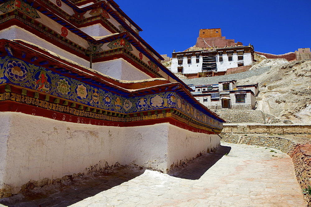 The base of Kumbum chorten (Stupa) in the Palcho Monastery at Gyantse, Tibet, China, Asia
