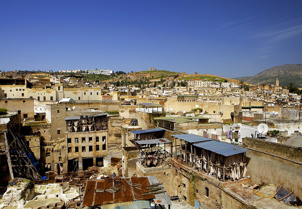 Tannery and cityscape, Fes (Fez), Morocco, North Africa, Africa