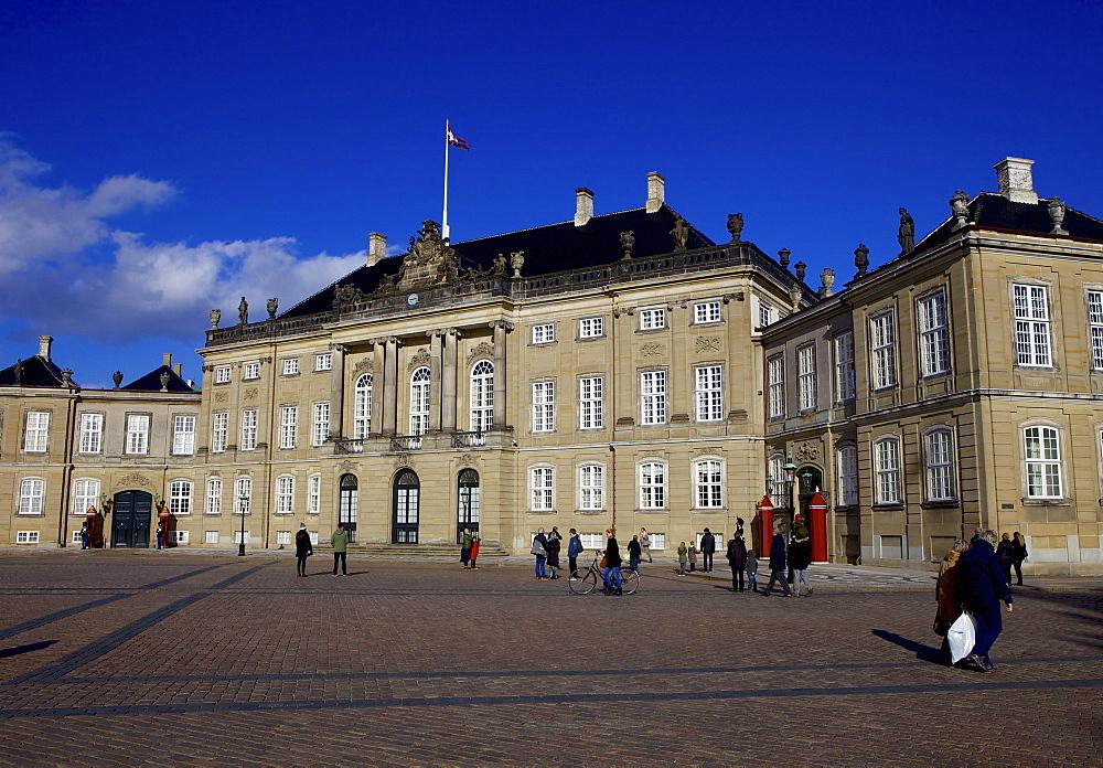 Amalienborg Palace, winter residence of the Danish Royal Family, Copenhagen, Denmark, Scandinavia, Europe