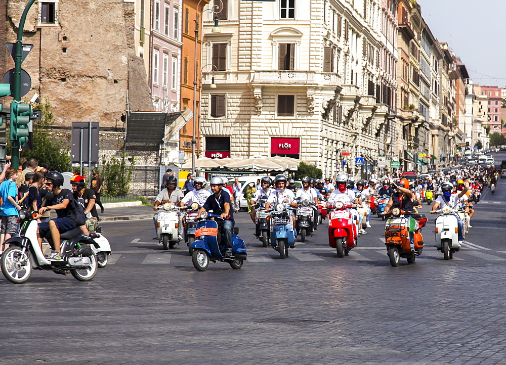 Old Vespa moped through the streets of Rome, Lazio, Italy, Europe - 851-553