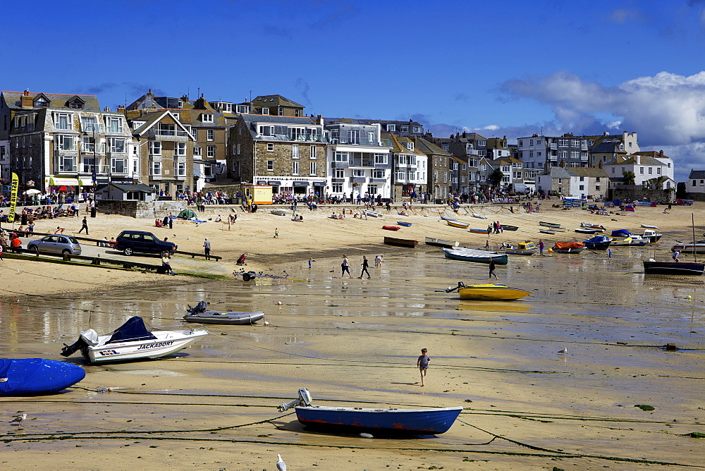 Boats in St. Ives harbour at low tide, St. Ives, Cornwall, England, United Kingdom, Europe - 851-560