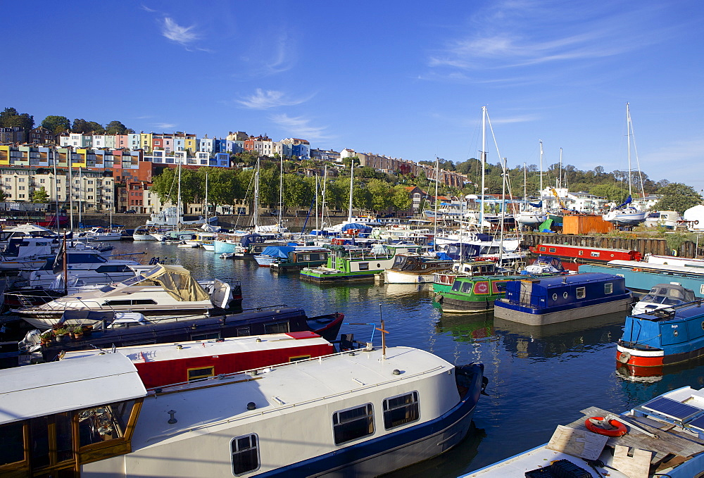 Narrowboats along Bristol's Harbourside near Hotwells, Bristol, England, United Kingdom, Europe - 851-588