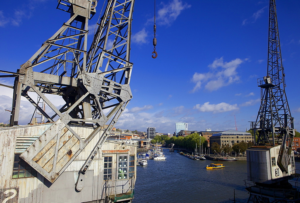 Bristol's floating harbour and an old Dockside crane, Bristol, England, United Kingdom, Europe - 851-595