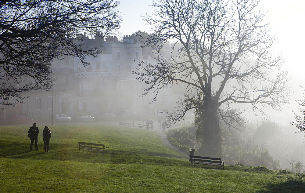 Clifton on a misty morning, Bristol, England, United Kingdom, Europe - 851-619