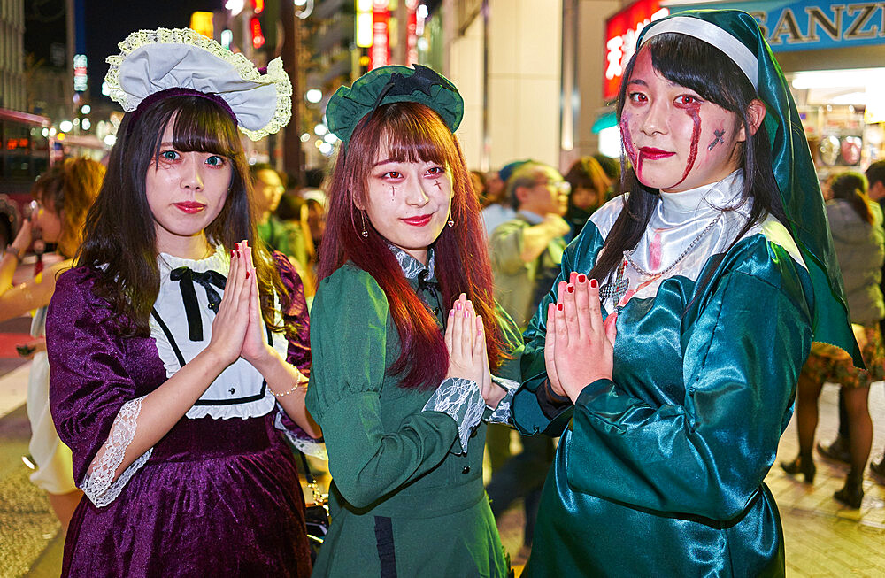Young Japanese girls dressed as nuns at the Halloween celebrations in Shibuya, Tokyo - 851-640