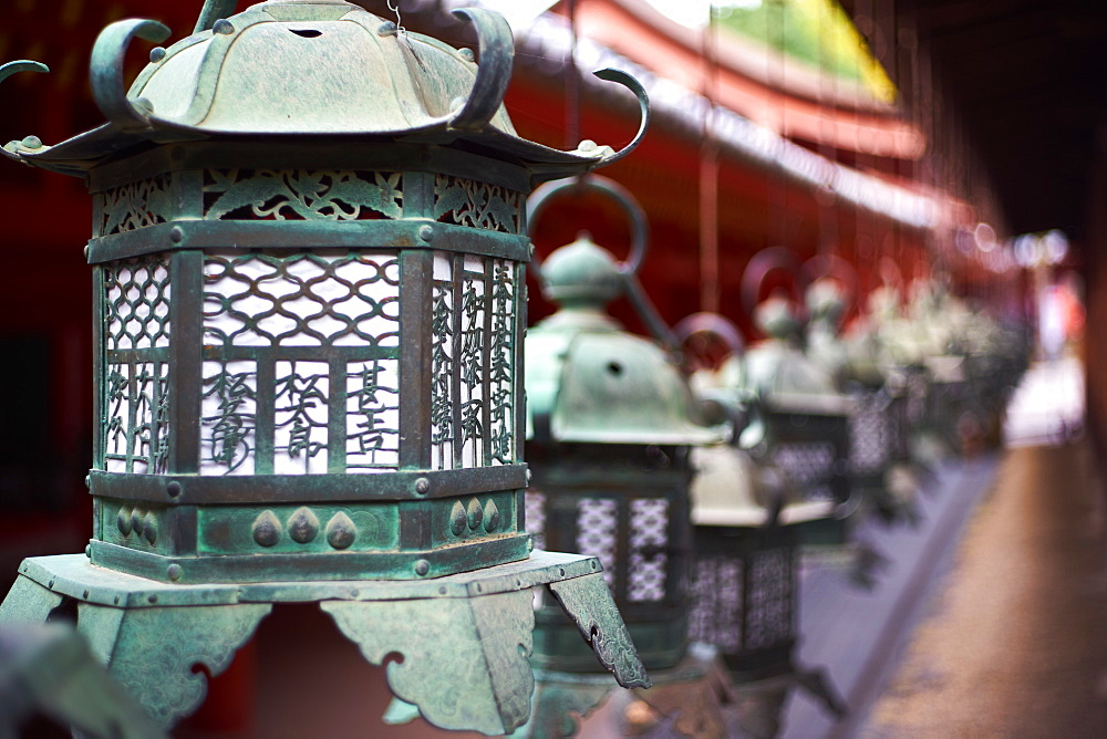 Bronze lanterns at Kasuga Grand shrine (Kasuga-taisha), UNESCO World Heritage Site, Nara Park, Nara, Honshu, Japan, Asia