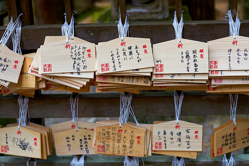 Votives, or prayer tablets, at Kasuga Wakamiya shrine in Nara, Honshu, Japan, Asia