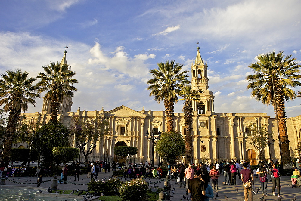 Plaza de Armas, Arequipa Cathedral in background, Arequipa , peru, peruvian, south america, south american, latin america, latin american South America - 851-73