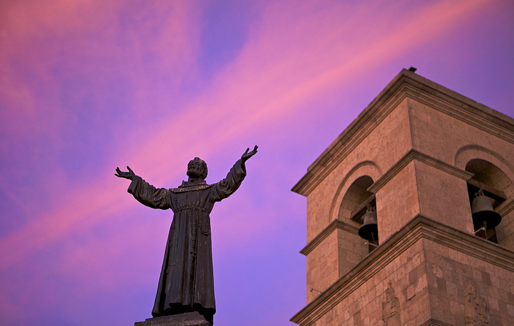 Statue of Saint Francis in front of Iglesia de San Francisco at twilight, Arequipa, peru, peruvian, south america, south american, latin america, latin american South America - 851-77