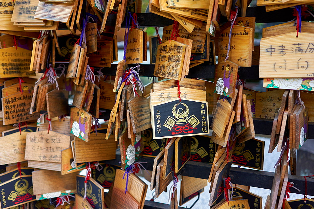 Votives (Ema prayer tablets) at Toshogu Shrine in Ueno Park, Tokyo, Japan, Asia