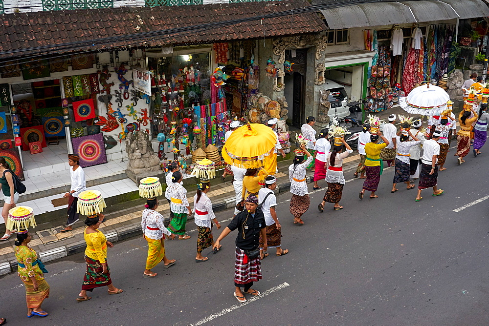 Religious procession in Ubud, Bali, Indonesia, Southeast Asia, Asia