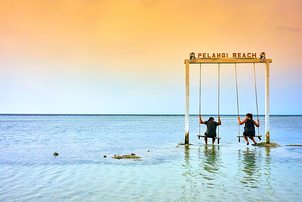 Sea swing at Pelangi beach on Gili Air, West Nusa Tenggara, Indonesia, Southeast Asia, Asia