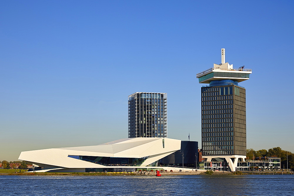 Eye Film Museum and A'dam tower in Amsterdam Noord (North), Amsterdam, North Holland, The Netherlands, Europe - 851-882