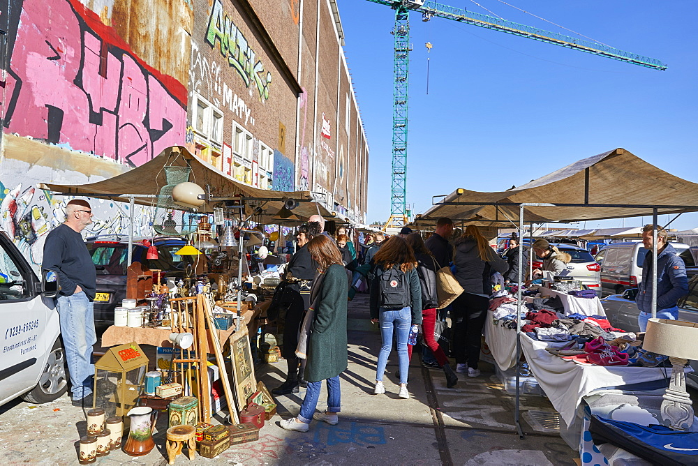 IJ Hallen monthly market at the NDSM in Amsterdam Noord, Netherlands, is the biggest flea market in Europe. - 851-886