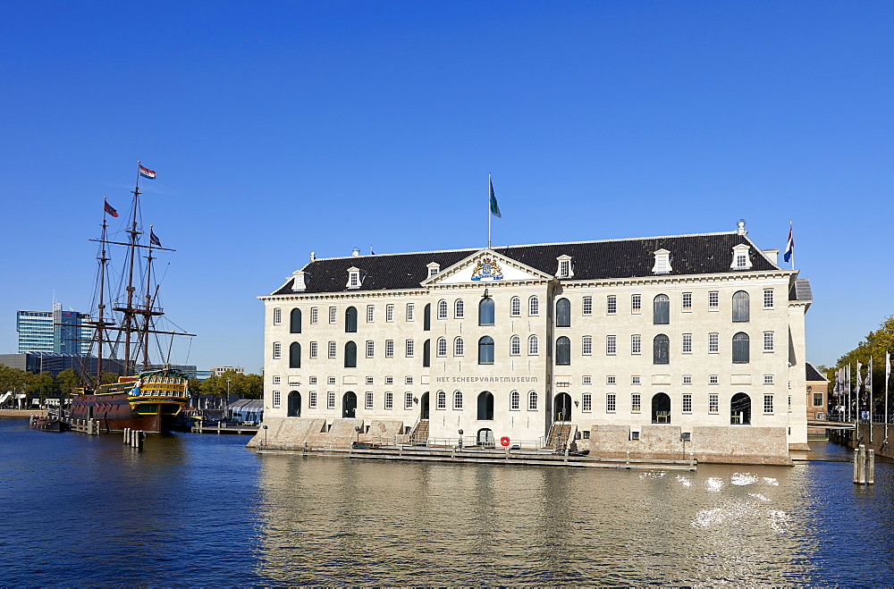 Het Scheepvaartmuseum, the National Maritime museum, & The Amsterdam sailing ship in Amsterdam, Netherlands. - 851-907