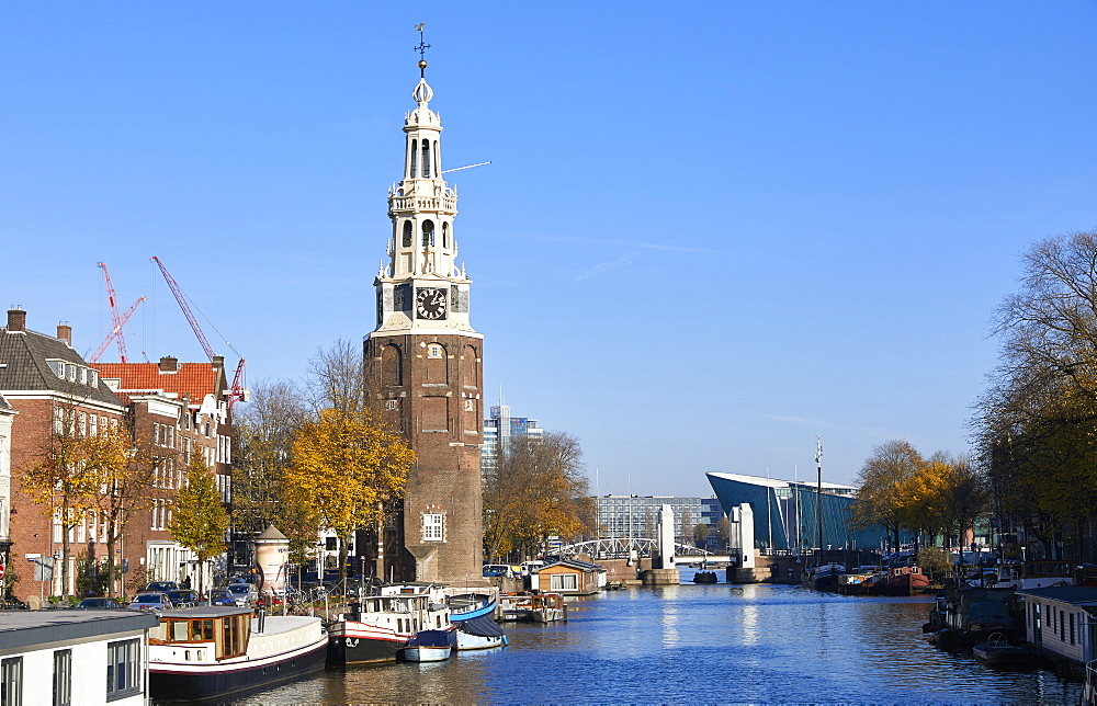Montelbaanstoren Tower and Oudeschans canal, Amsterdam, North Holland, The Netherlands, Europe - 851-923
