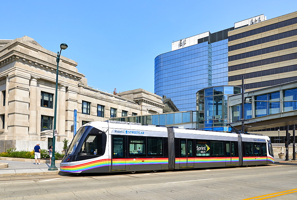 A KC Streetcar outside Union Station in Downtown Kansas City. - 851-928