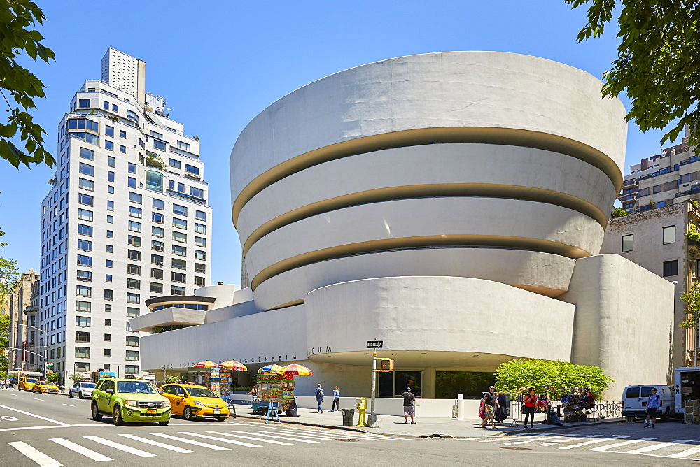 Guggenheim Museum of Modern and Contemporary Art by Architect Frank Lloyd Wright on Fifth Avenue in New York City, New York, United States of America, North America