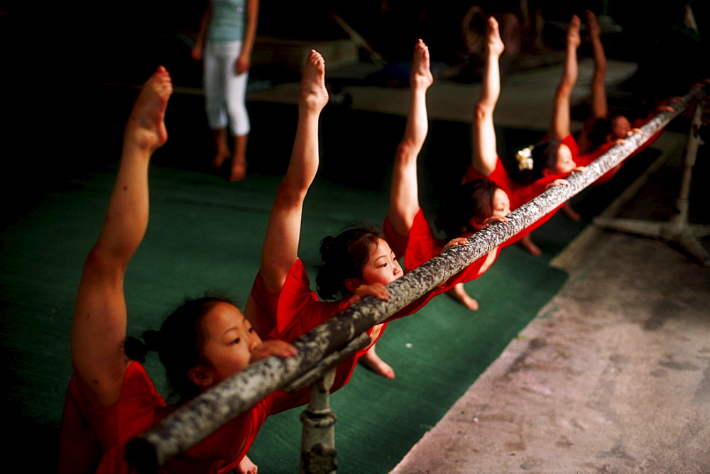 2001 The elite gymnastics school in Xiantao, Hubei province. 5 year old children training for a national gymnastics competition for the under sixes that will be held in the city of Hangzhou. 60 teams from all provinces of China will compete. During this c