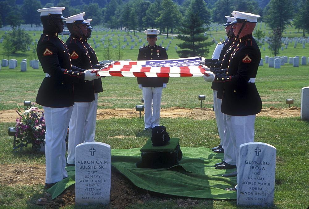 Burial ceremony a veteran in Arlington National Cemetery, Virginia