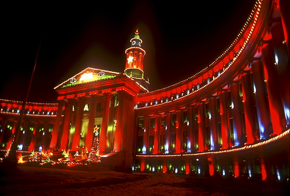 The City, County Bulding in Denver, Colorado with Christmas lights up.