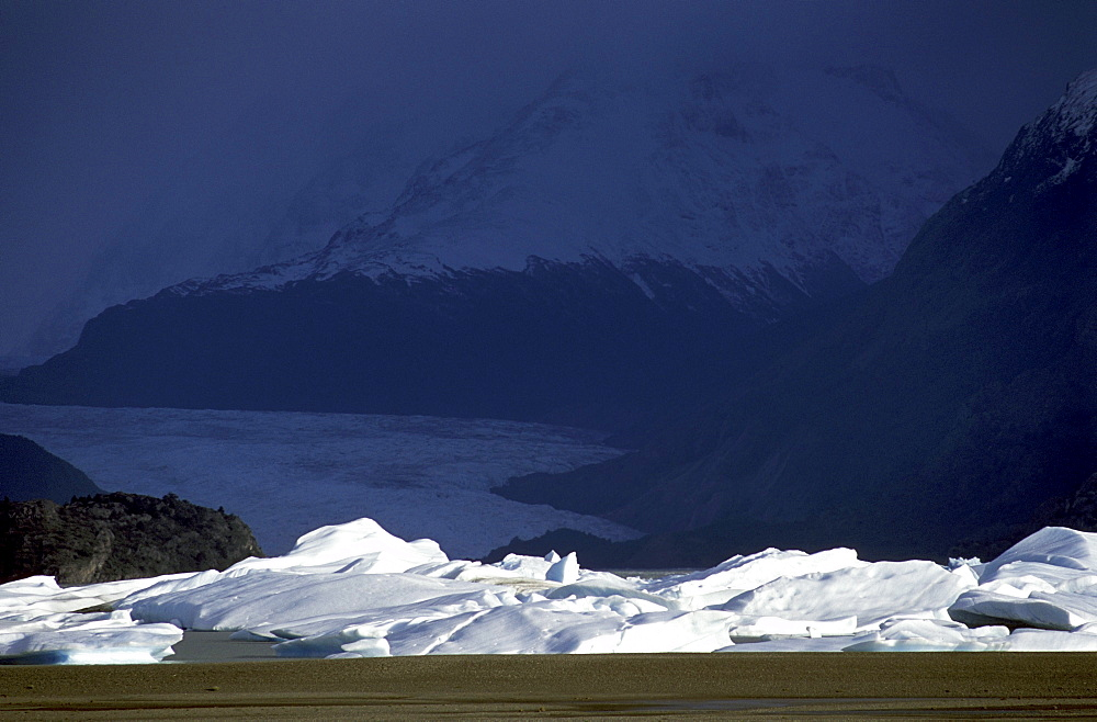 Icebergs collect at the end of Lago Grey, below the sweeping tongue of the glacier in Torres del Paine National Park.