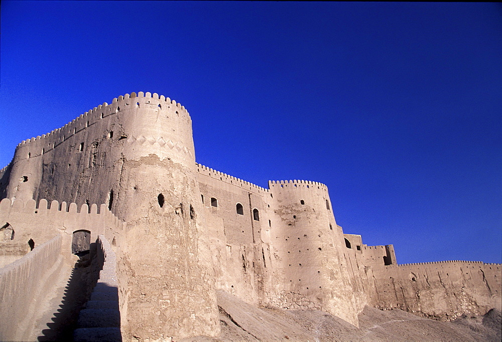 View of western wall at Bam Citadel in Bam, Iran.