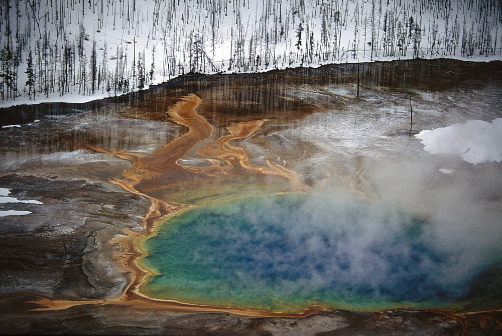 Aerial of Grand Prismatic Springs, Yellowstone National Park, WY