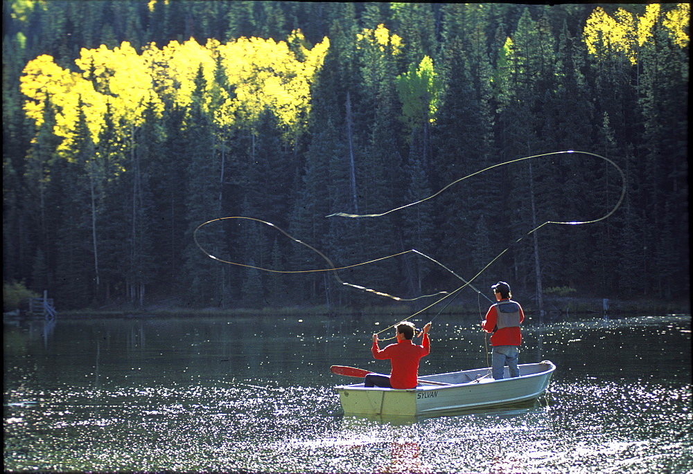 Fly fishing on a lake near Teluride, Colorado.