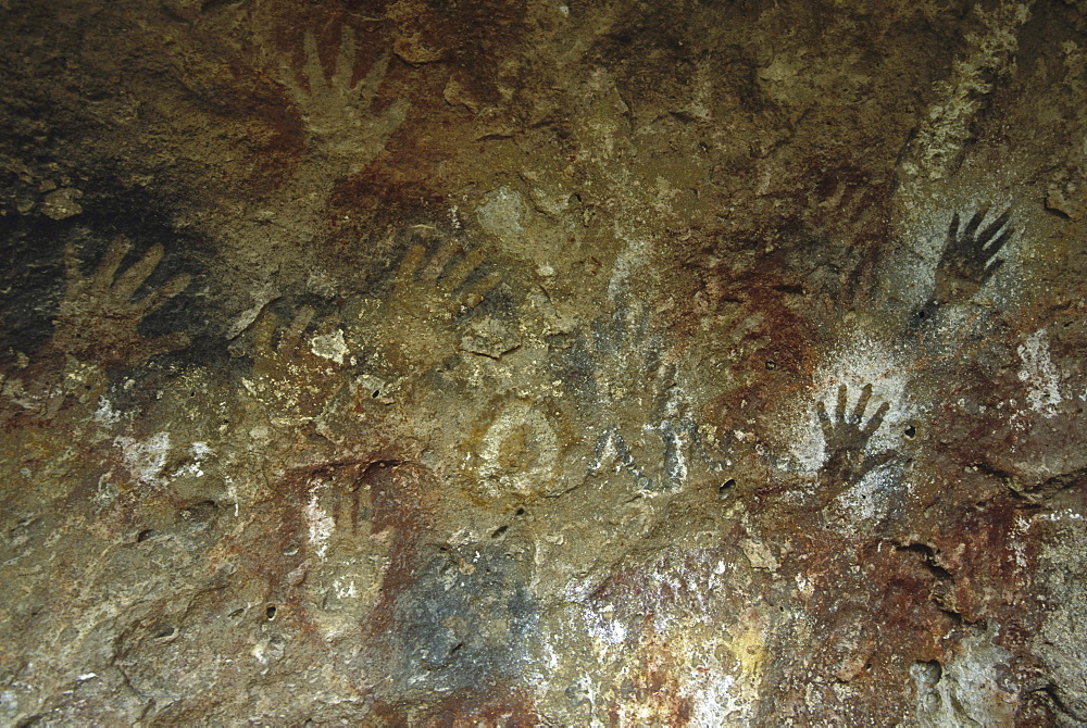 Cave paintings at Estancia La Maria, Argentina. They are between 4,500 and 13,000 years old.