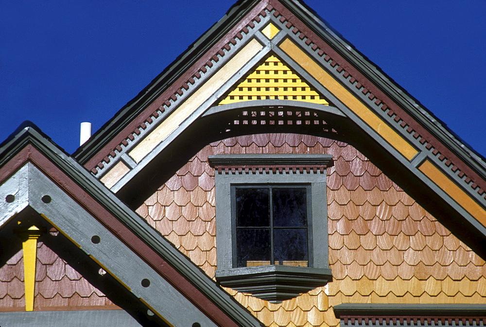 Detail of a Victorian-era home in Denver, Colorado