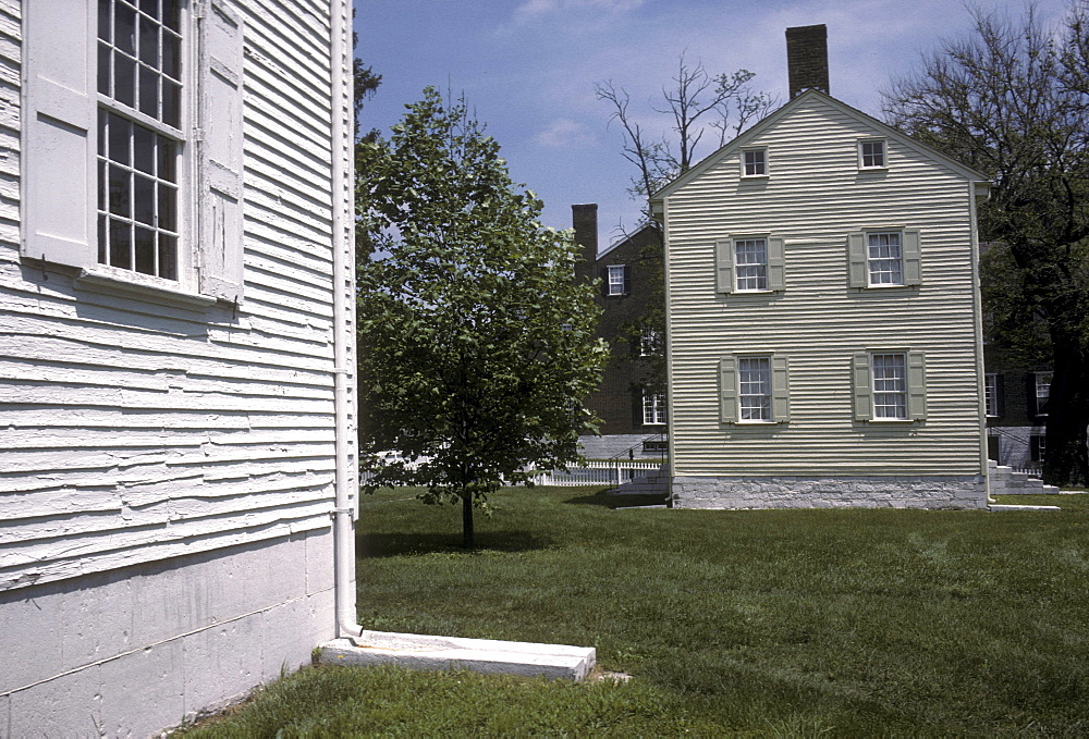 Old homes at Pleasant Hill, a former Shaker village near Lexington, Kentucky