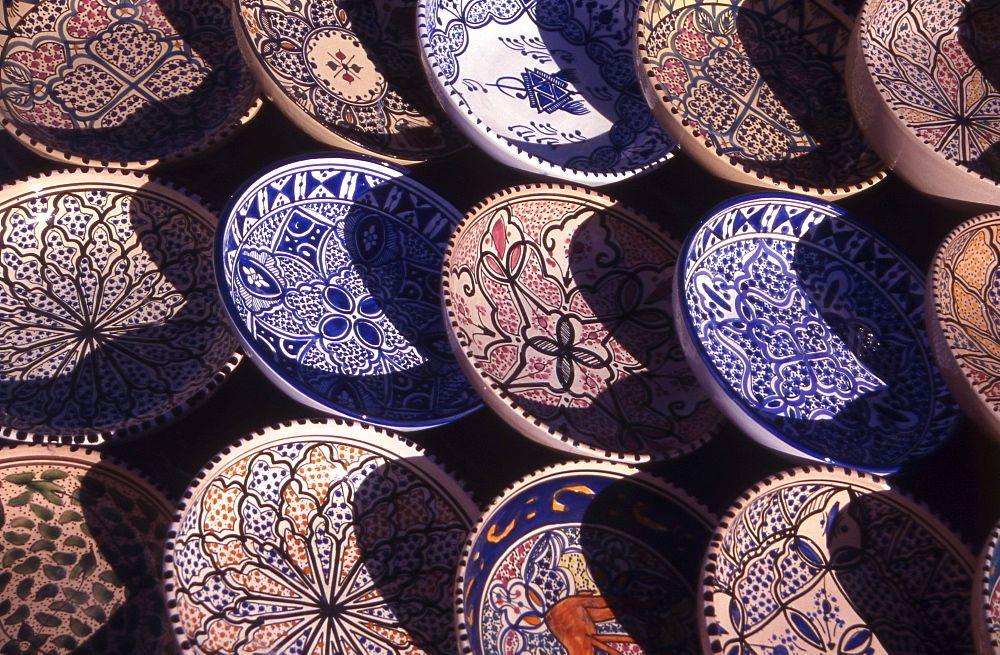 Ceramics for sale at Tataouine village Souk (Open Air Market) in Tunisia, North Africa.